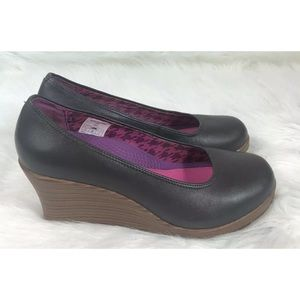 Crocs A-Leigh Wedge Womens 8.5 Brown Slip On